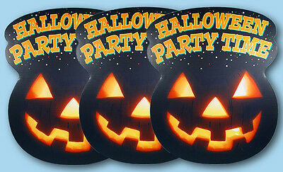 3 Halloween Party Time Large Die-cut Store Display Signs Jack-o-Lantern - Halloween Party Time