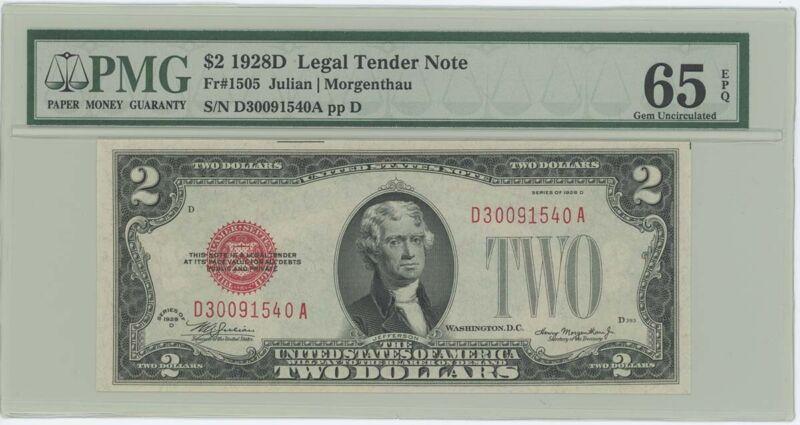 1928D $2 Legal Tender FR#1505 PMG 65 EPQ Gem
