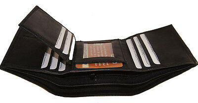 Trifold Crocodile Embossed Credit Card ID Leather Black Men's Wallet Brand New