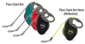 FLEXI Tape & Cord retractable dog leads, extending leash, 12 to 60kg, 3 to 8m