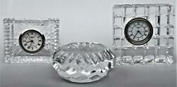 ESTATE LOT 3 SIGNED WATERFORD CRYSTAL ART GLASS TABLE CLOCKS & DESK PAPERWEIGHT