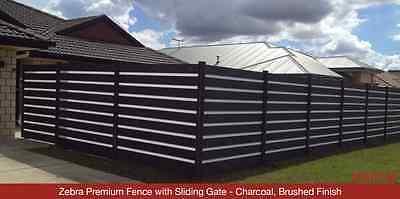 Zebra Premium Fence with Sliding Gate - Charcoal, Brushed Finish