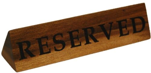 Set of 6 Acacia Wood Reserved Table Signs