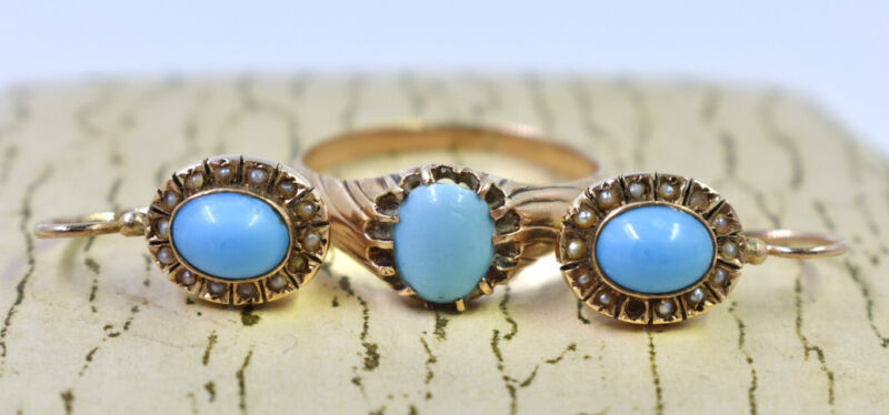 Rare Russian Imperial Vintage 56 Gold 14K Set Earrings Ring Turquoise Tsarism
