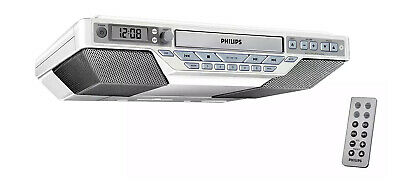 RARE PHILIPS AJ6111/37 KITCHEN CLOCK RADIO CD WITH REMOTE UNDER CABINET SLIM
