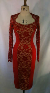 Baylis-Knight-RED-Nude-LACE-Long-Sleeve-Sexy-BOMBSHELL-Wiggle-Dress-Burlesque