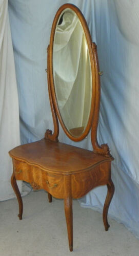 Antique Oak Dressing Mirrror – with a drawer in Base