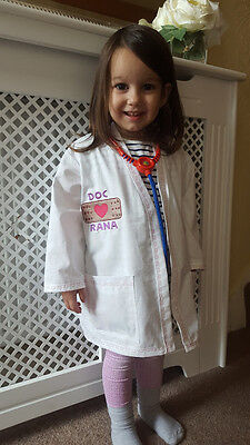 stuffins Inspired Lab Coat Costume aged 2-8 (Doc Mc Stuffins Kostüm)