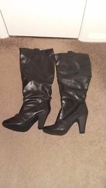 Size 9 / 42 Leather Knee High Boots From New Look, Very Sexy!