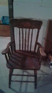 Two solid oak pressed-back Chairs for $10 each London Ontario image 2