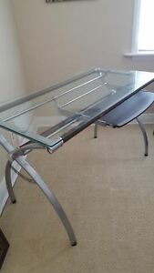 sturdy glass top desk