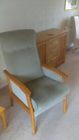 REDUCED PRICE: PAIR OF GREEN UPRIGHT CHAIRS