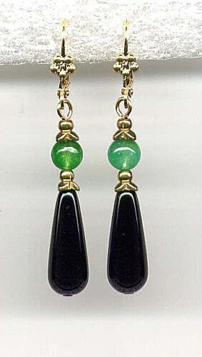 GENUINE JADE w ONYX BRIOLETTE Teardrop EARRINGS 14K Gold gp *Victorian Style