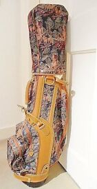 Lovely Tapestry & Leather Golf Bag, Hardly Used Great Gift Idea!