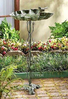 Metal Stand Alone Bird Bath Seed Feeder Ivy Vine Pole Outdoor Lawn Garden Decor