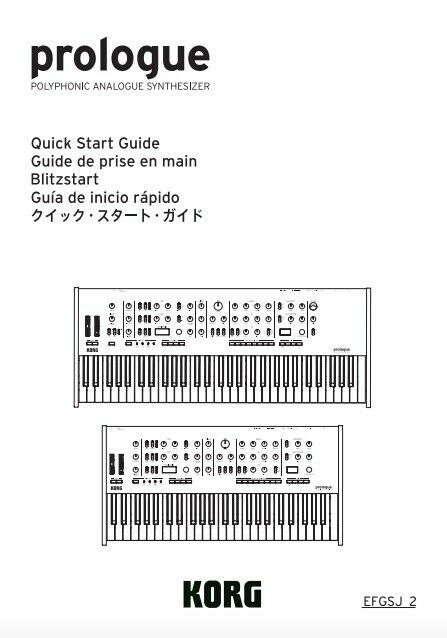 Korg Prologue Owner s Manual AND Quick Start Guide - $19.95