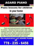 Piano or keyboard lessons in your home