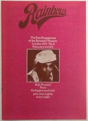 Billy Preston Gallagher & Lyle Concert Programme Rainbow Theatre London Feb 1972