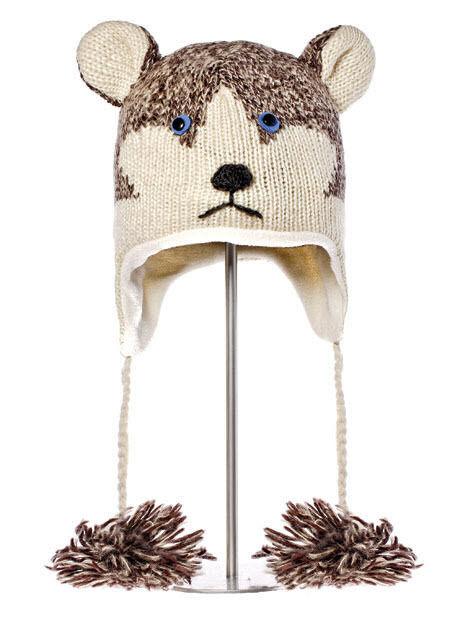SIBERIAN HUSKY HAT huskies SKI CAP animal sled dog costume ADULT knit LND deLux