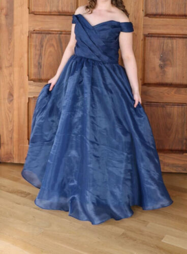 Midnight Blue Gown (Size 10) - off the shoulder and back