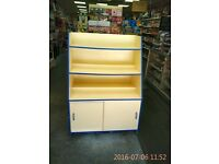 ***Heavy Duty Cream/Blue Wooden Display Shelving and Cupboard Unit - £150***