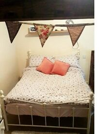 Double Cream Metal Bed