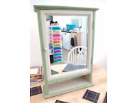 Pine Bathroom Cabinet with Mirror : Refurbished : VINTRO Sage, Pebble, Candy Floss
