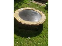 Free Trampoline 140cm Diameter. Six legs: 39 cm high. Webbing intact. Collect from Cranleigh