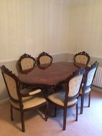 Dining Table and Six Chairs - Italian, Hand crafted with High Gloss finish
