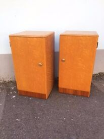 Pair of 1940s Deco Style, Maple Veneered Bedside Cabinets/Nightstands. Vintage/Retro/Mid Century