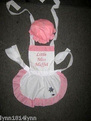 GIRLS KIDS LITTLE MISS MUFFET COSTUME APRON & MOP TOP HAT Made to Fit 1-12 - Little Miss Muffet Costume Kids