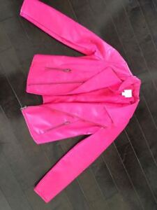Hot Pink faux leather jacket, sparkly vest, hoody, shirts...