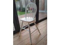 Lovely Solid Wood Shabby Chic Refurbished Child's Dining Chair, Painted, Vanilla Mist