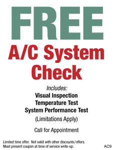 FREE AC INSPECTION!!!!!!! / open mon-fri 8-5 and sat 8-12