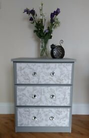 Chest of drawers refurbished grey/white in Laura Ashley/Annie Sloan