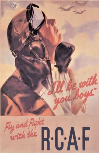 """Vintage """"Fly and Fight with RCAF"""" Poster WW 2"""