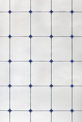 Sapphire Blue White Stained Glass Privacy Static Cling 24x36 Window & Door Film