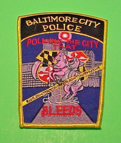 """BALTIMORE CITY  MARYLAND """" POLICING THE CITY THAT BLEEDS """"  5 1/2""""  POLICE PATCH"""