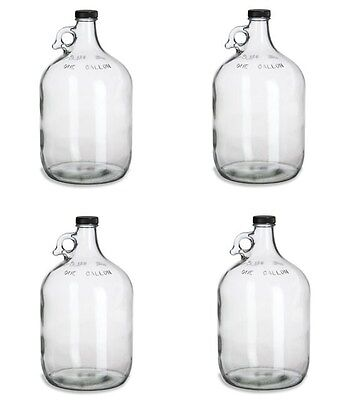 $24.95 - 4 NEW GLASS 1 GALLON JUGS w/CAPS FOR HOMEBREWING BEER WINE MAKING KITS MOONSHINE