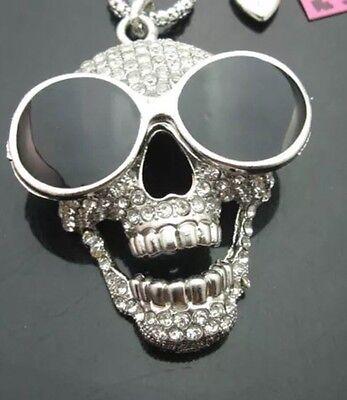 Betsey Johnson SKULL Necklace Silver SUNGASSES Goth Biker RARE Cool HALLOWEEN](Betsey Johnson Halloween Necklace)