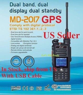 TYT MD-2017GPS +Free Speaker Mic Dual Band DMR/Analog 144/430 Radio US Seller