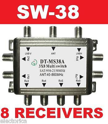 3X8 SATELLITE MULTI-SWITCH FOR DISH NETWORK SW38 8 OUTPUT DIRECTV BELL LNB (8 Satellite Multiswitch)