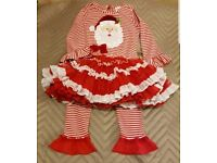 Girls Christmas Santa dress and leggings age 2 3 years