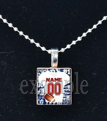 Personalized Custom Name Team FOOTBALL Jersey Scrabble Necklace Charm -