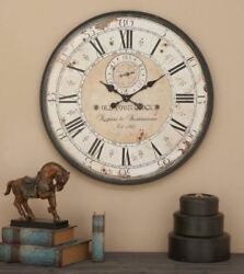 Wall Clock Large Oversized Wood Metal Rustic Antique Roman Numeral Black Beige