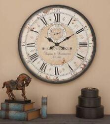 Wall Clock Large Oversized Wood Metal Rustic Antique Roman Numeral Black Beige