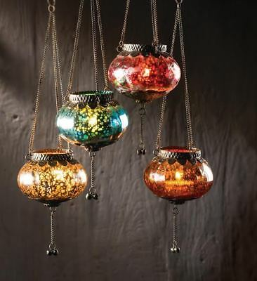 MOROCCAN VINTAGE HANGING CRACKLE SILVER CHAIN GLASS LANTERN TEALIGHT HOLDER GIFT