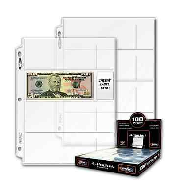 10 sheets BCW 4 Pocket Currency Pages Binder Albums