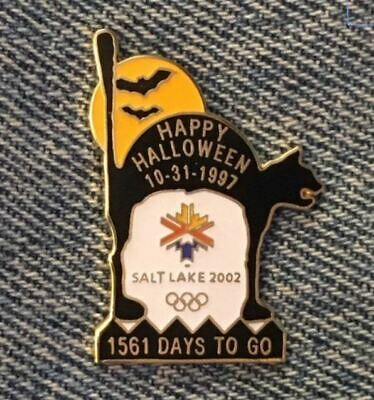 Halloween Salt Lake City (Halloween Olympic Pin ~ 10-31-97 ~ Cat ~ 2002 Olympics ~ SLC ~ Salt Lake)