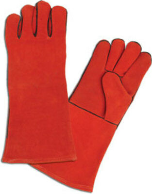 1 Pair Of Red Leather Welders Gauntlet Gloves Xl Cotton Lining Hd Free Shipping